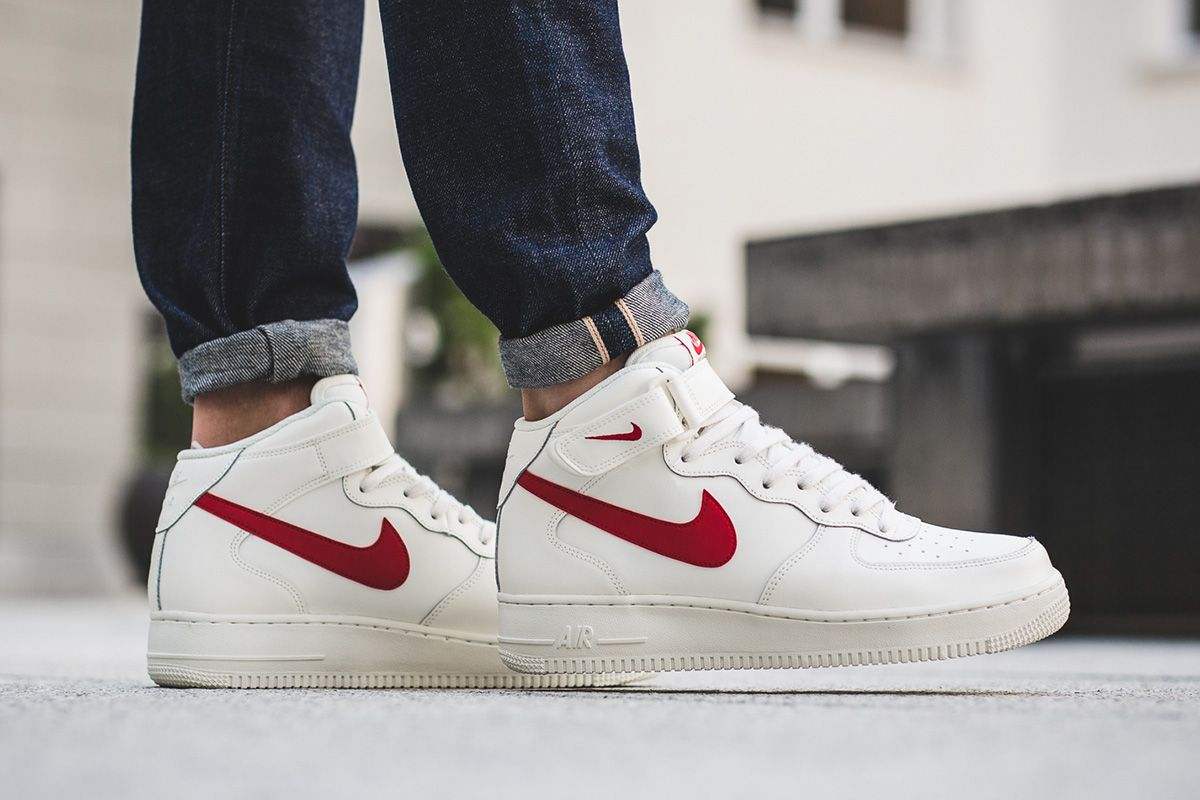Nike Air Force 1 Mid 07 In White Red Womens Sneakers Nike