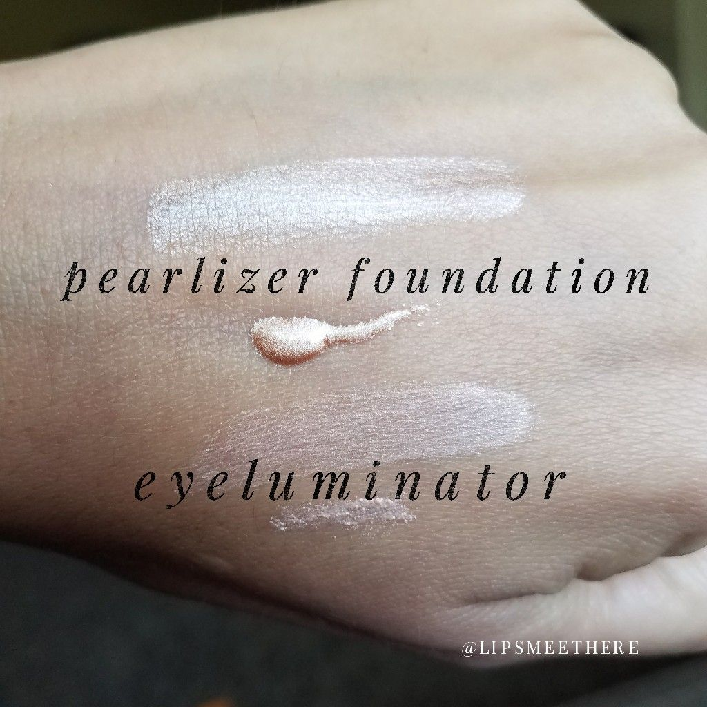Pearlizer foundation & eyeluminator swatch, stripes