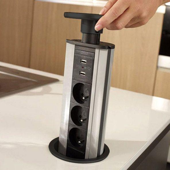 8e36d3f6208fc1 Accessoire plan de travail cuisine, bloc prise, poubelle   USB, Bloc et  Cuisiner