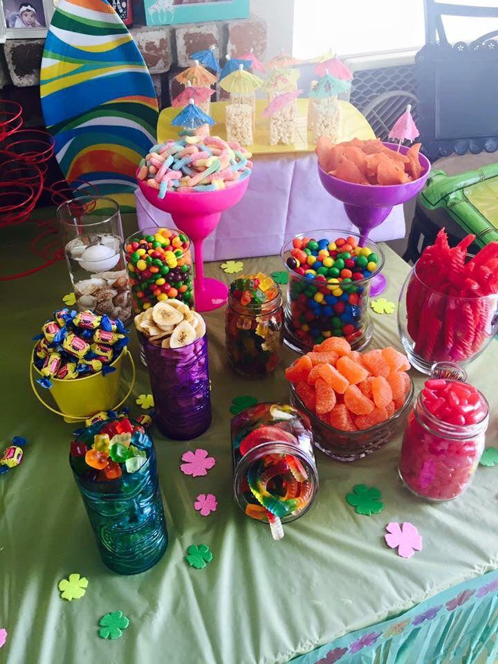 Hawaiian Candy Table Birthday Party Candy Table Birthday Candy Table Luau Birthday Party