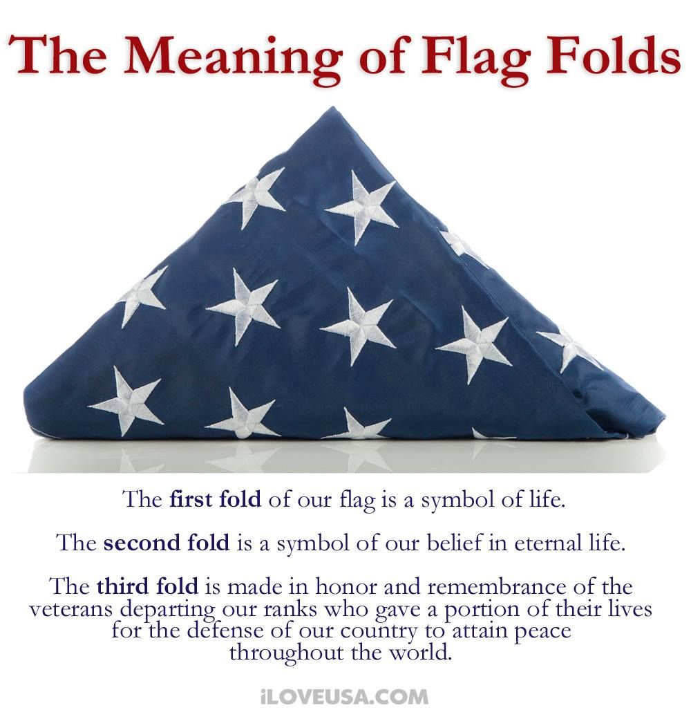 Did You Know That Each Fold Of The Flag Has A Symbolic Meaning To It Here Are The First 3 And To Learn What All 13 Folds Represent Flag America Life Symbol