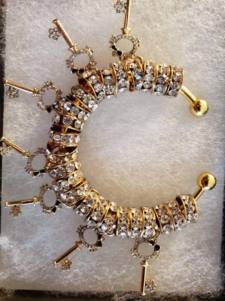 Hello kitty key charm bracelet gold bracelets gold