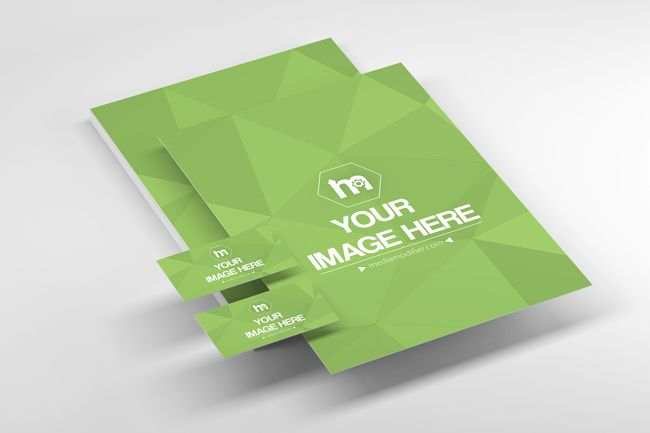 A creative 3D stationery online branding mockup generator. Make a branding mockup with your own print designs. Showcase the front and back side of a business card and two A4 letterhead designs. A perspective 3D stationery branding mockup online template with blank papers and business cards.