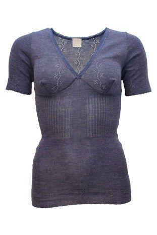 Lace T-Top Pure merino Silk Violet Blue