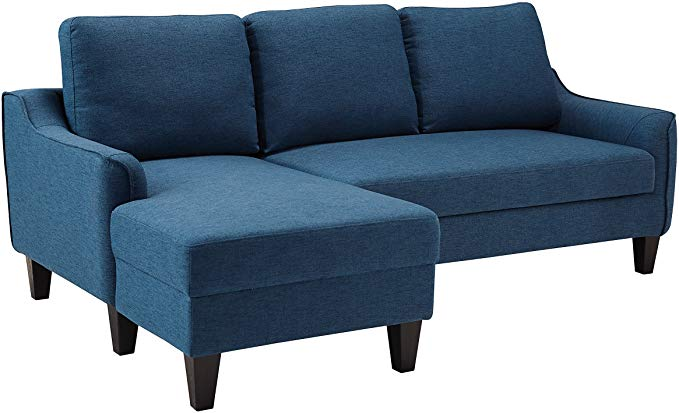 Amazon Com Ashley Jarreau Mid Century Blue Upholstered Sofa Chaise Sleeper Kitchen Dining Sectional Sleeper Sofa Chaise Sofa Upholstered Sofa