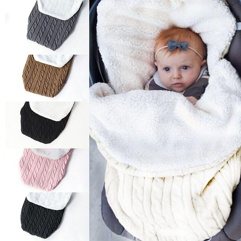 Photo of Buy Blanket Soft Baby Sleeping Bag Footmuff Cotton Knitting Envelope Wrap Sleep sacks Stroller