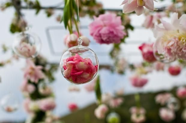 Clear Ornaments with Flowers