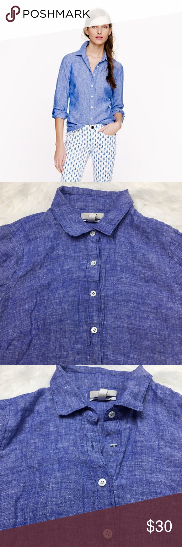 606cbc57 J. Crew The Perfect Shirt J. Crew Perfect shirt in crosshatch linen. Blue  Button Up accented with white buttons. Offers Accepted J. Crew Tops Button  Down ...