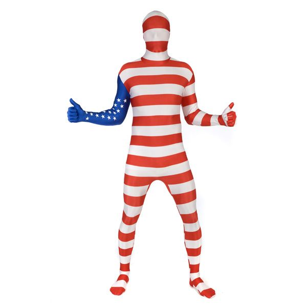 England Union Jack Flag Zentai English Second Skin Lycra Suit Costume All Sizes
