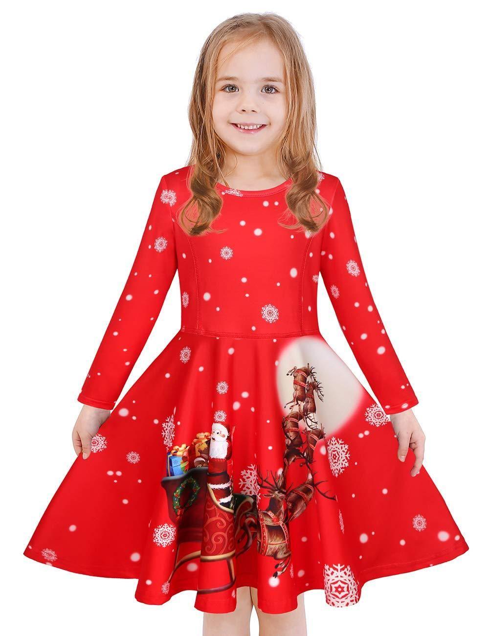 Girls Twirly Longsleeve Christmas Dress Santa Sleigh Richrichardsonretail Girls Christmas Dresses Girls Dresses Long Sleeve Kids [ 1300 x 1000 Pixel ]