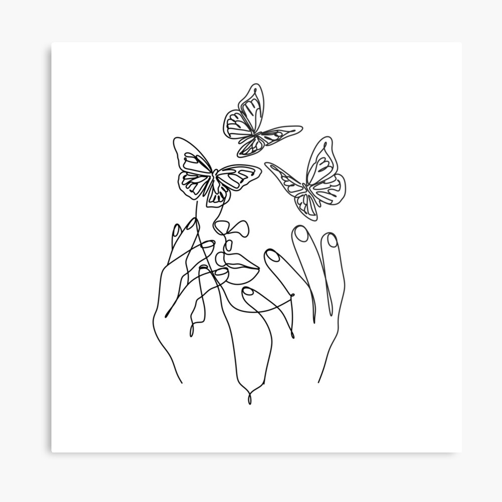 Photo of Abstract Line Illustration, Minimal Face Drawing In Lines, Printable Butterfly Fashion Sketch, Drawn Female Portrait, Minimalist Woman Art. by OneLinePrint | Redbubble