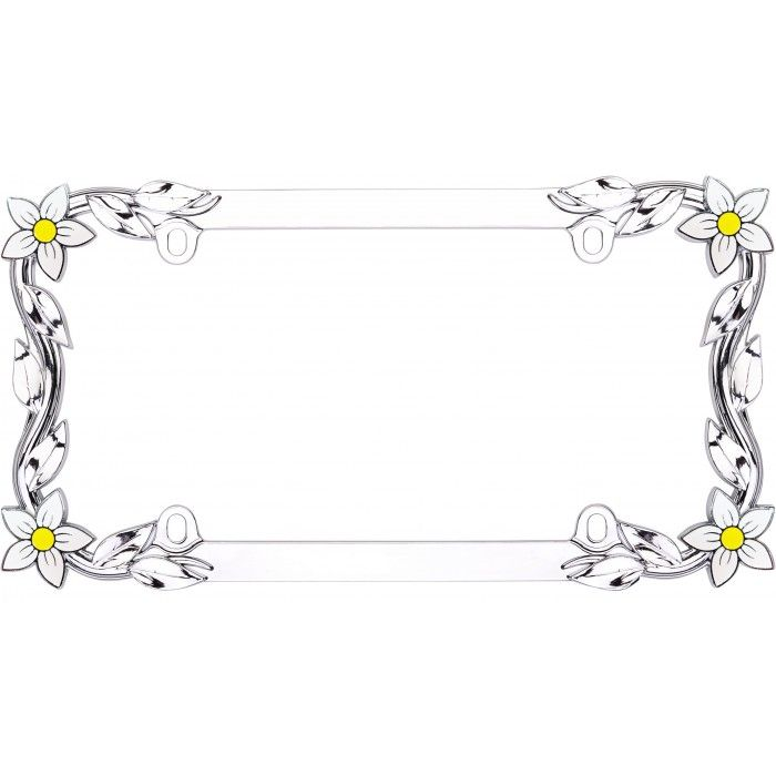 Cruiser Accessories Metal Chrome Daisy Flowers License Plate Frame ...