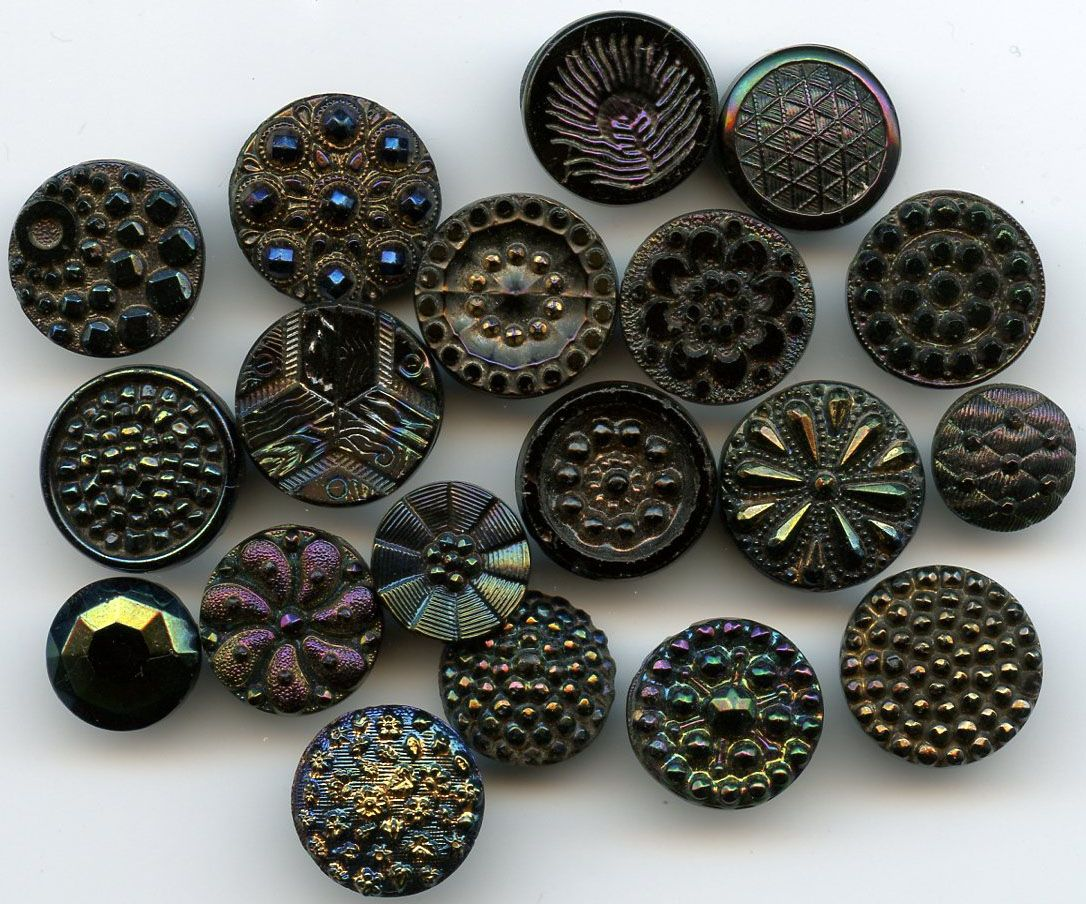 SOLD: Antique iridescent lustered black glass buttons $22.00