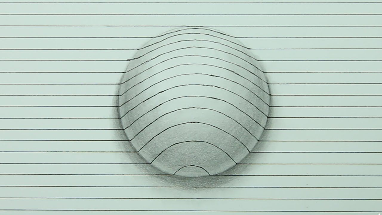 Line Drawing Illusion : Drawing a d sphere optical illusion time lapse draw
