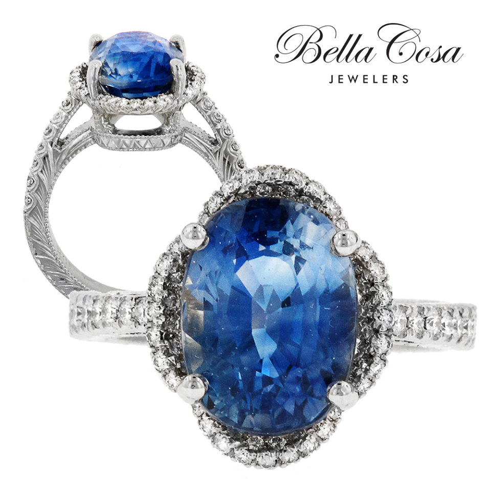 Blue sapphire marquise diamond halo drop pendant, Diamond