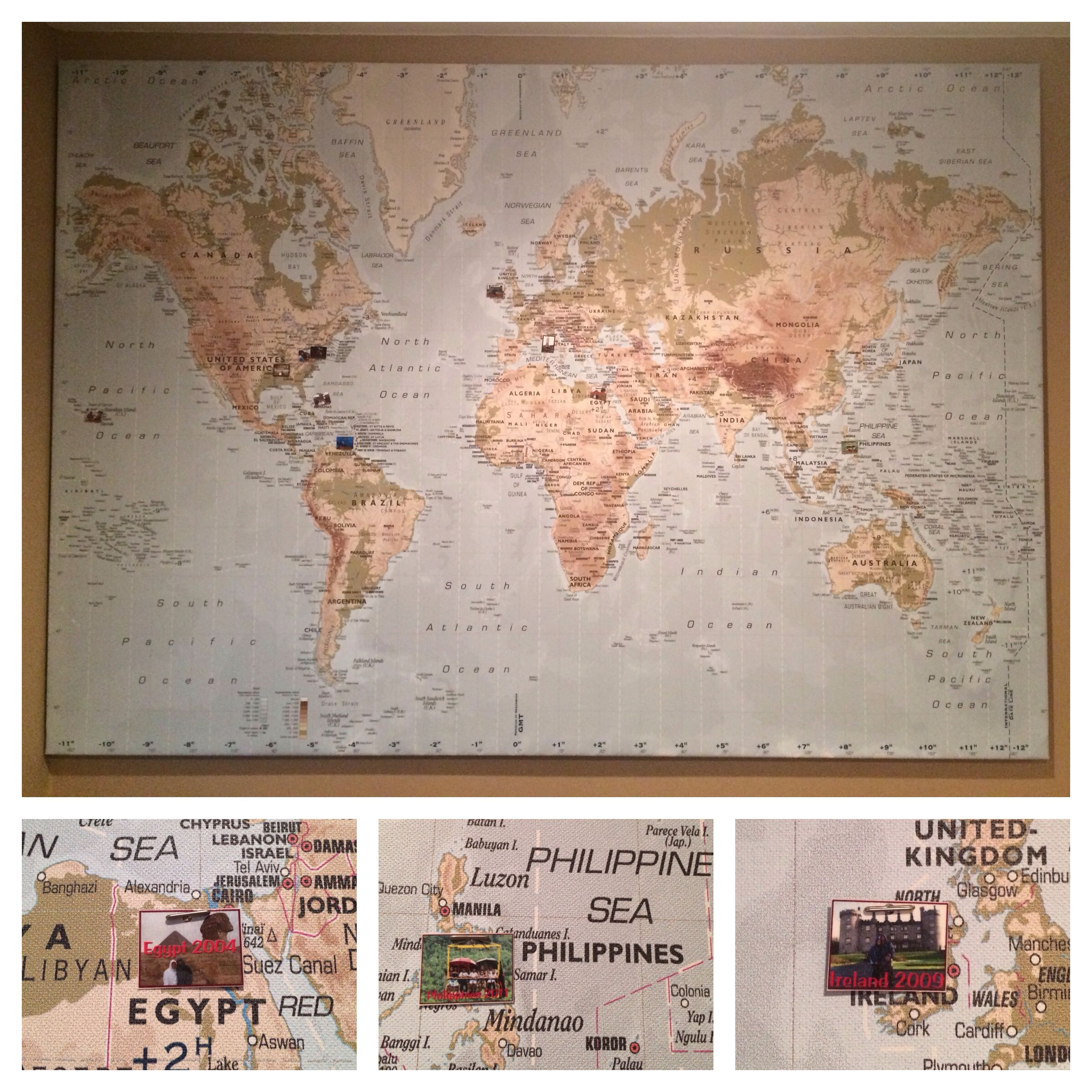 Bought a large world map at IKEA Pinned pictures of the places we
