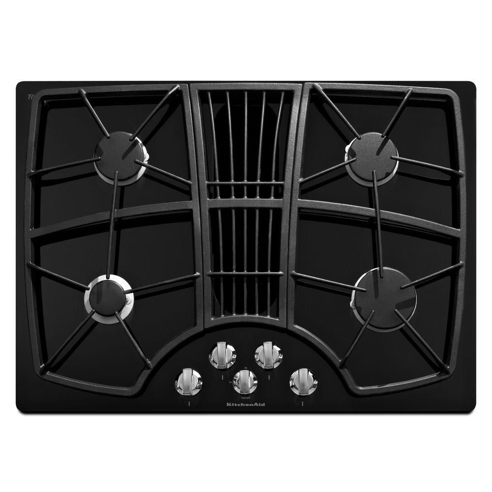 Kitchenaid Architect Series Ii 30 In Gas On Glass Gas Cooktop In Black With 4 Burners Including Professional Burner Gas Cooktop Downdraft Cooktop Kitchen Aid