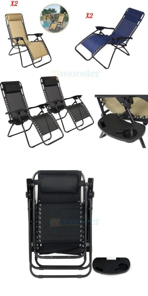 Lounges 79684 2 Pcs Zero Gravity Chair Lounge Patio Chairs With Cup