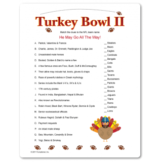 Part 2 of Turkey Bowl...matching clues to team names. Must have a ...