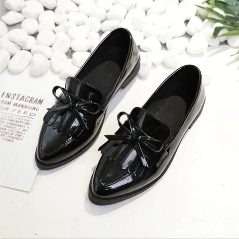 casual tassel bow pointed toe black oxford shoes flats