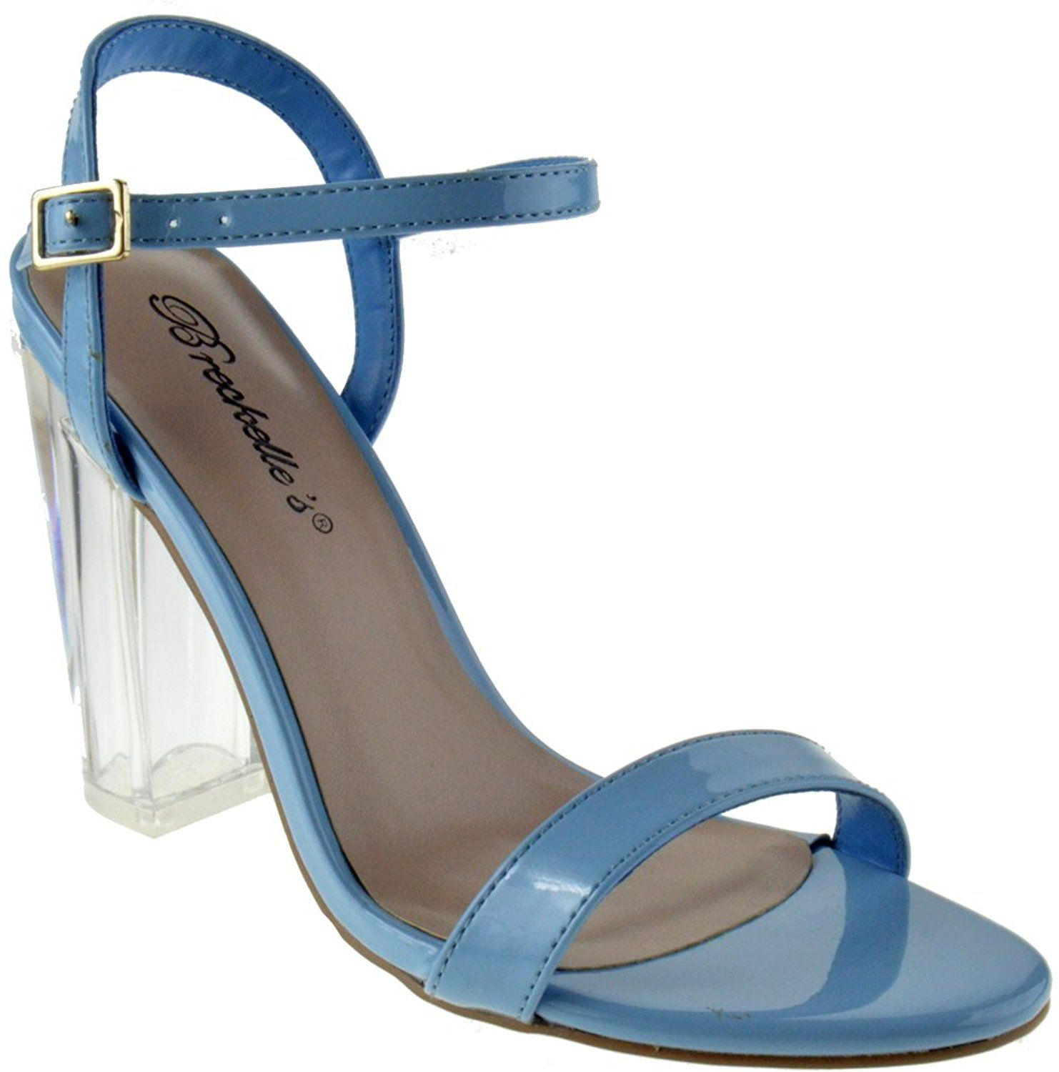 049a77530 Breckelle s Emmie 15 Womens Clear Chunky Heel Patent Buckle Platform Sandals  -- Click image to
