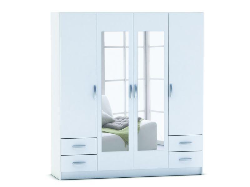 Armoire 4 portes + 4 tiroirs SPOT coloris blanc - pas cher ? C\'est ...