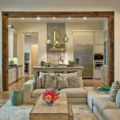 what you think abut this open plan kitchen living room design the wood paneling - Kitchen To Living Room Designs