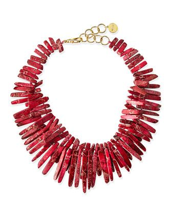 Double-Strand+Pink+Jasper+Point+Fringe+Necklace+by+Nest+at+Neiman+Marcus.