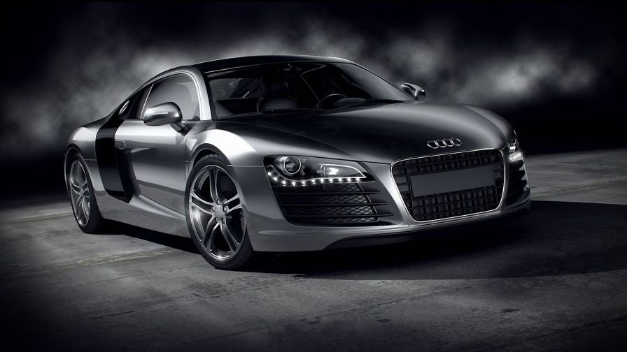 Silver Audi R8 In A Light Semi Darkness In The Background Of White Smoke Free Wallpaper Audi Sports Car Audi R8 Wallpaper Sports Car