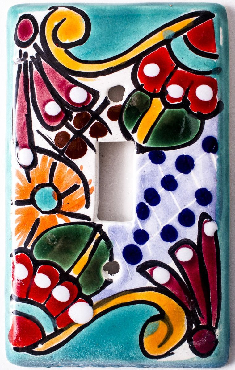 Talavera Switch Plate Single Toggle Hand Painted Measures 3 X 5 Made In Mexico