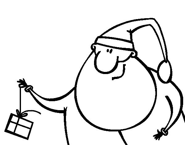 Disegno di Babbo Natale con un regalo da colorare, stampare o scaricare. Colora online con un gioco da colorare disegni di Feste e potrei dividi e creare la tua propria galleria di disegni online.
