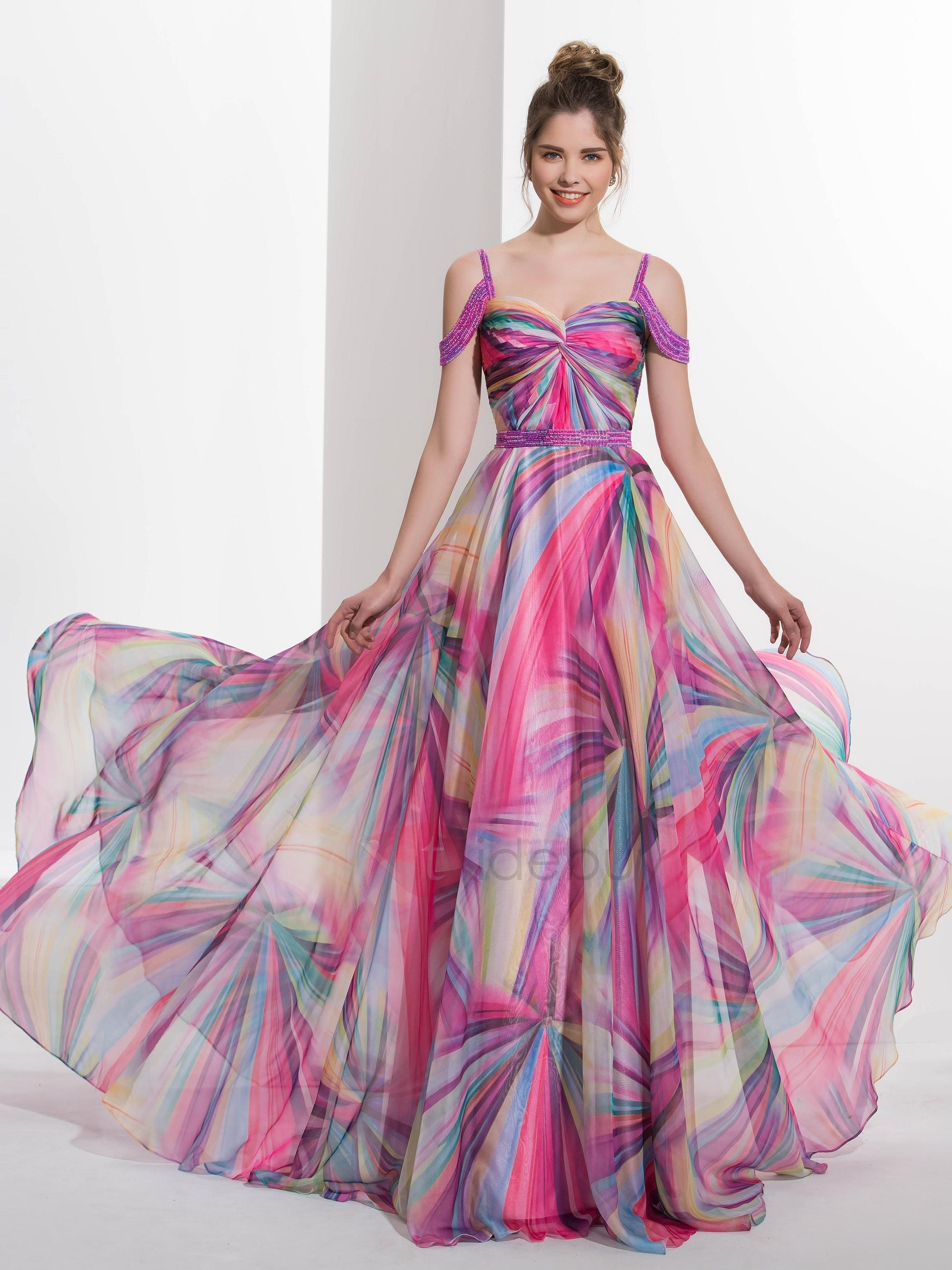 Amazing Straps Beading Printed Prom Dress | Prom and Clothes