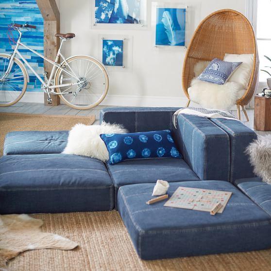 Cushy Lounge Armless Chair Distressed Velvet Metal In