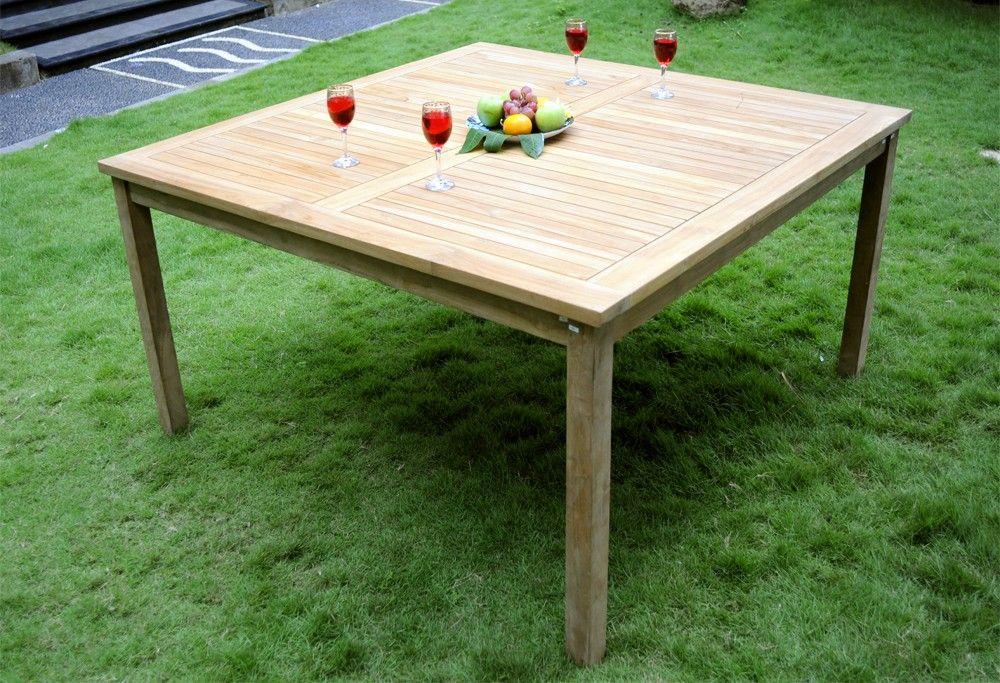 Table de jardin en teck brut - 150 cm - table carrée ...
