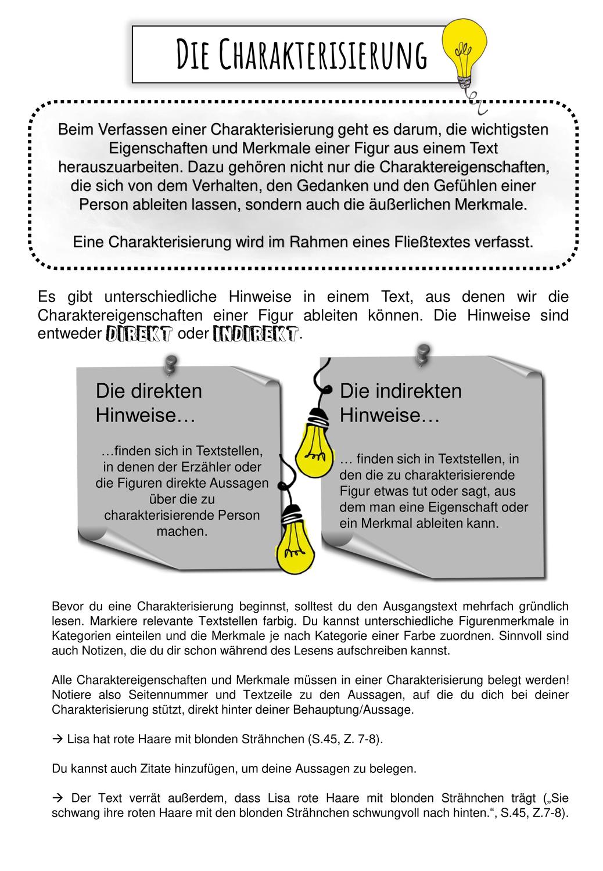 Merkblatt Zur Erstellung Einer Charakterisierung Unterrichtsmaterial Im Fach Deutsch In 2020 Deutsch Nachhilfe Lernen Tipps Schule Deutsch Lernen
