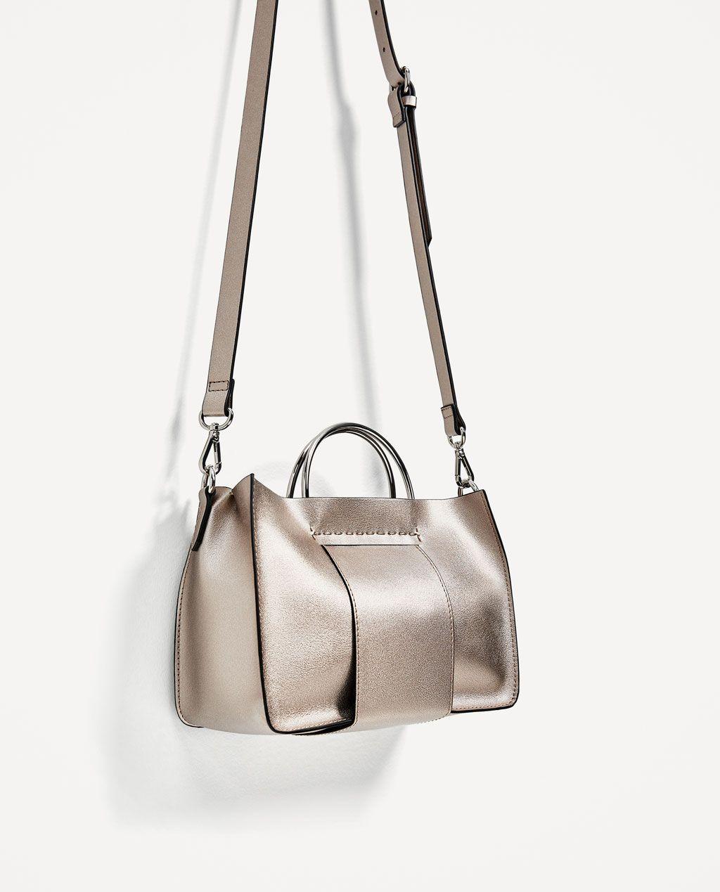 aabafa22 MINI TOTE BAG WITH METALLIC HANDLES-BAGS-TRF   ZARA United States ...