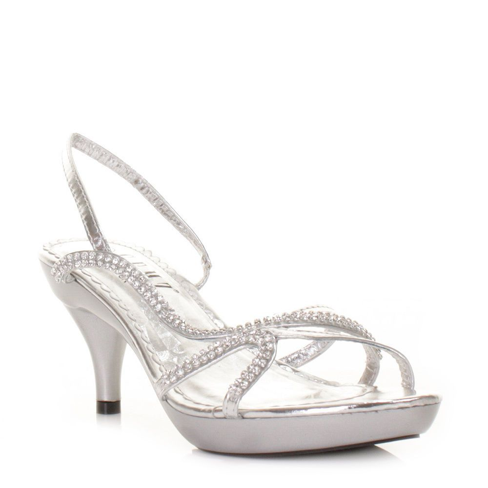 94d4a753122 WOMENS LOW HEEL SILVER STRAPPY SLINGBACK PARTY PROM LADIES SHOES SIZE 3-8