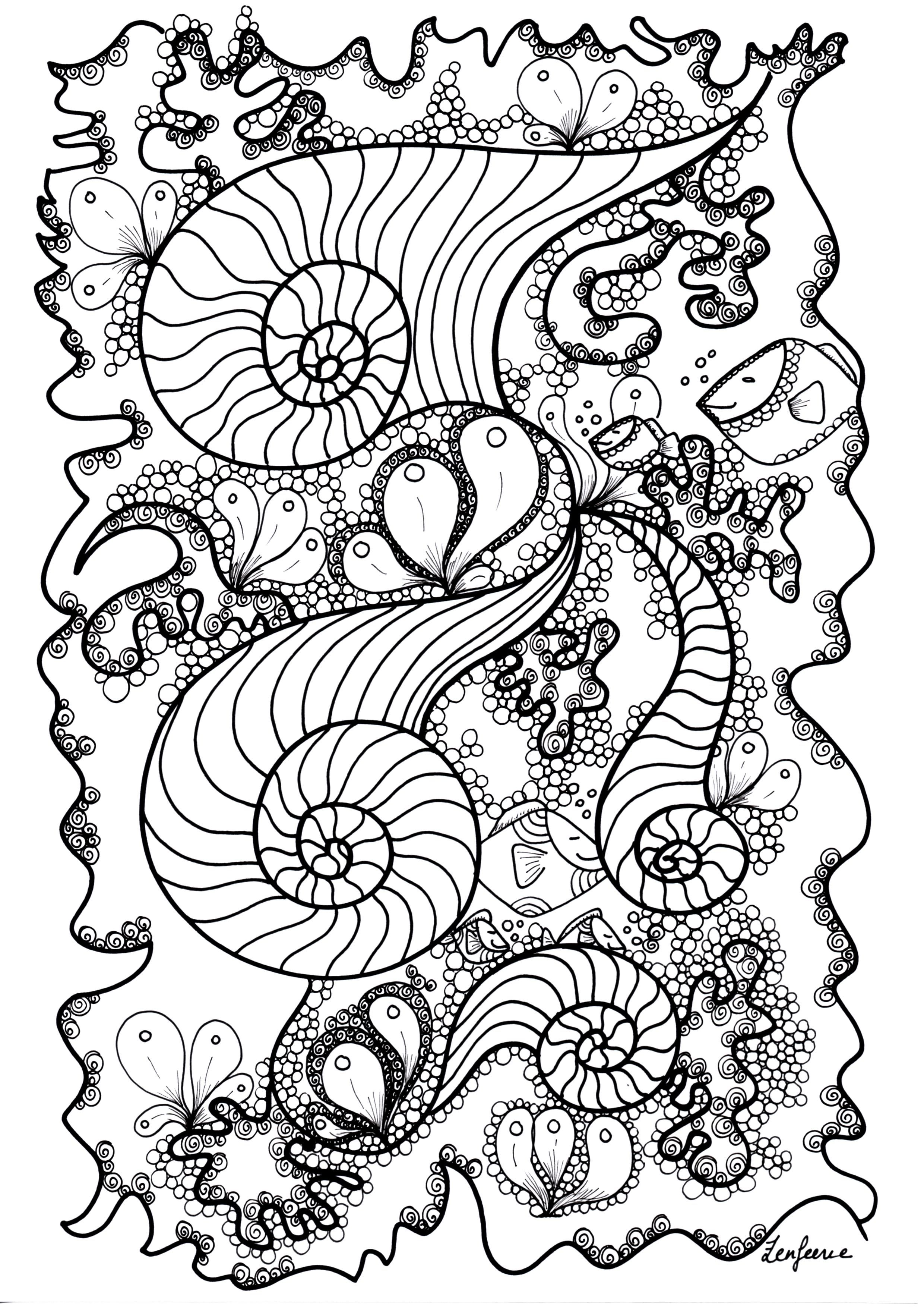 Free coloring page coloriage adulte poisson by zenfeerie fishes hidden in a magnificient - Dessin poisson simple ...