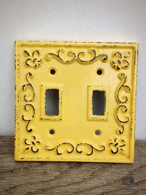 Rustic Fleur De Lis Cast Iron Metal Double Light Switch Plate Cover ...