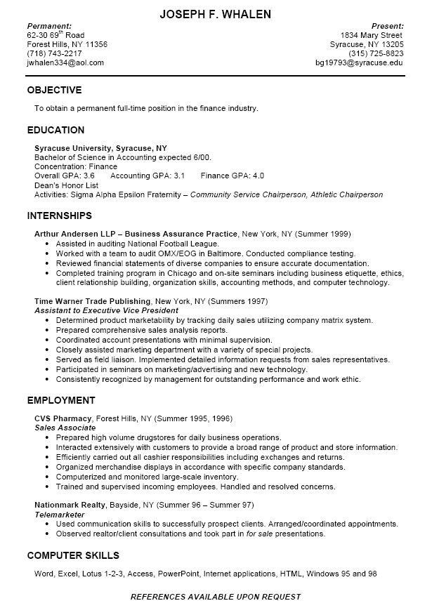resume examples for freshman college students