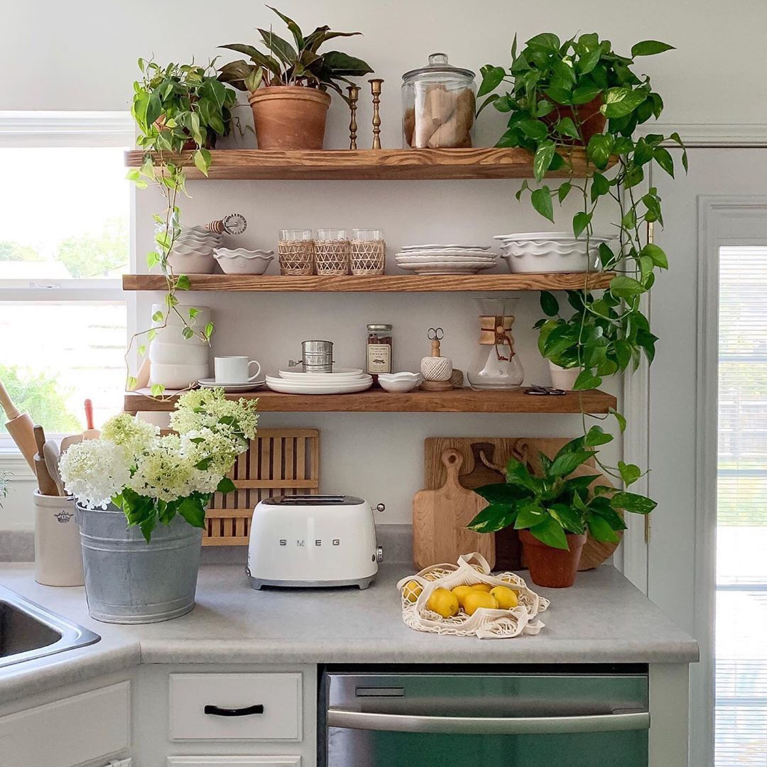Wondering How To Perfectly Style Shelves Just Add More Plants And A Few Of Our Favorite Shelf Staples Small Kitchen Decor Home Decor Kitchen Small Kitchen