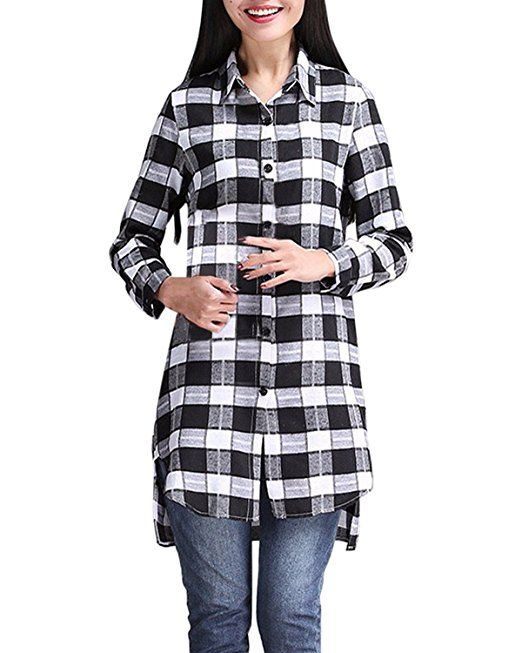 cfba8bfa5625d9 StyleDome Women's Long Sleeve Casual Button Down Check Plaid Shirt Dress  Long Tops Black White UK