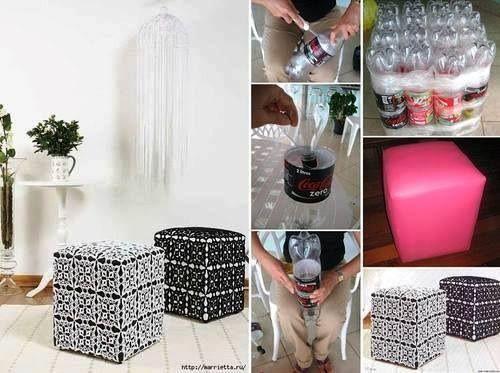 con botellas plásticas de refrescos reciclaje muebles deco muebles