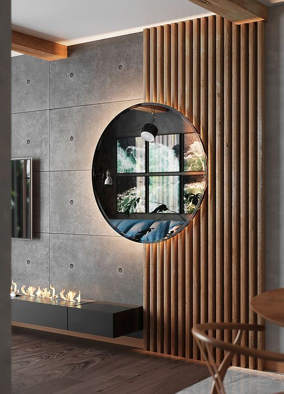 vertical wood in 2019   Loft design, Wall design, Interior