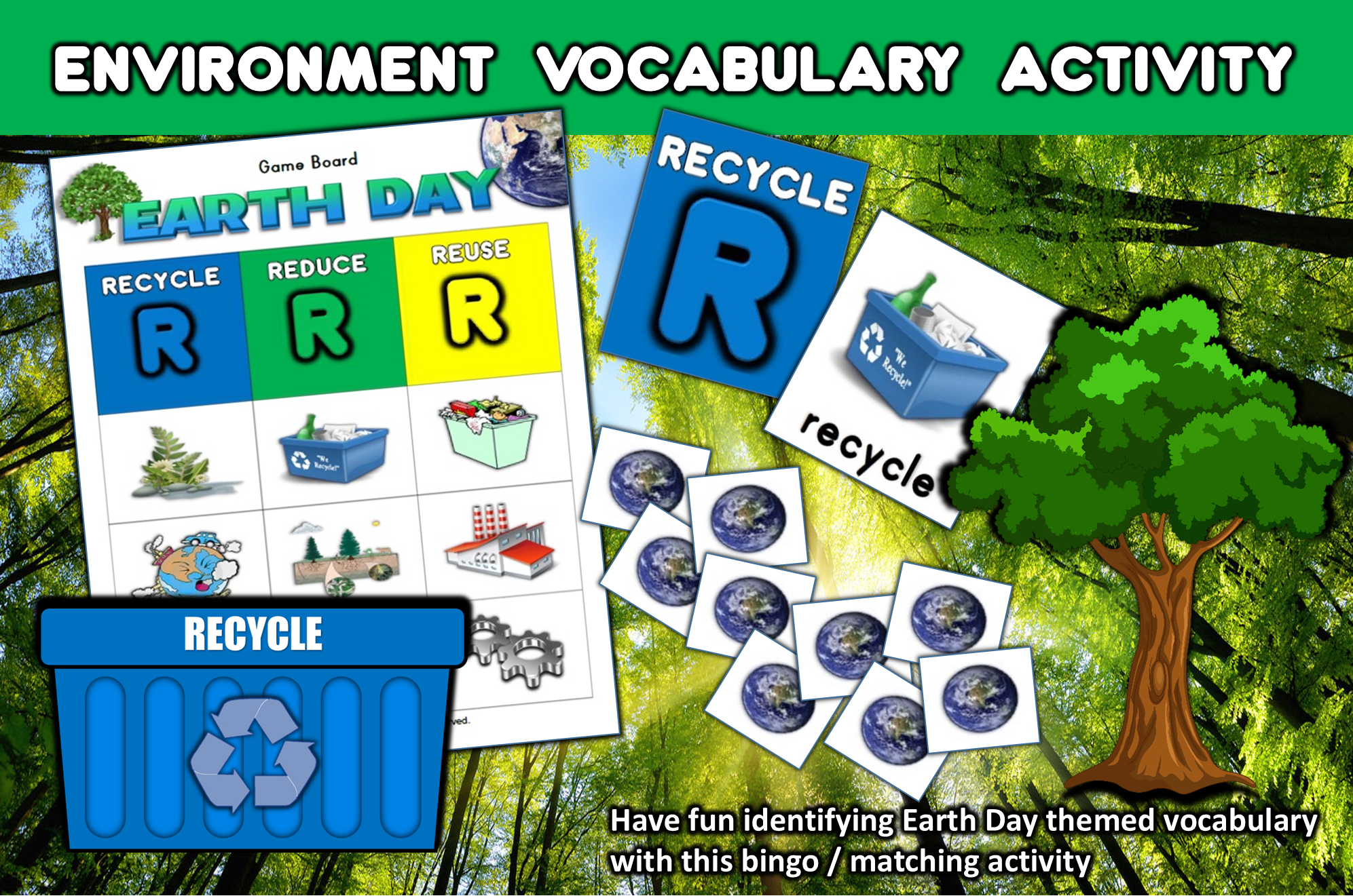 Earth Day Matching Bingo Game Flashcards