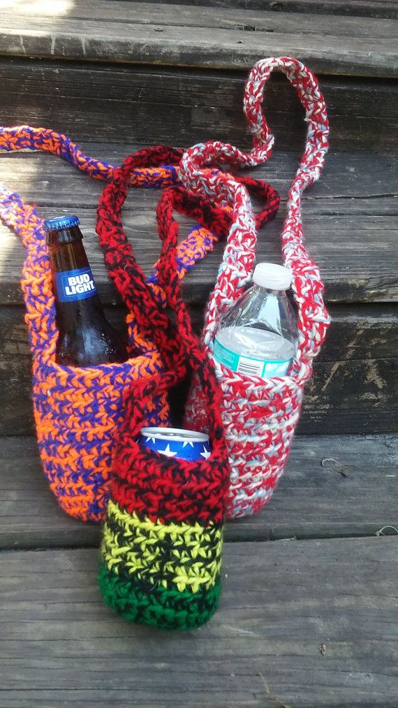 crochet coozie handless coozie crochet by KathleensKreations91