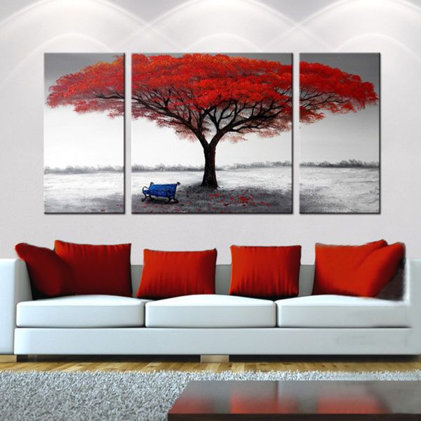 Framed Red Tree Oil Painting On Canvas Black White Abstract Modern Wall Art 3 Piece Canvas Art Canvas Wall Art Wrapped Canvas Art