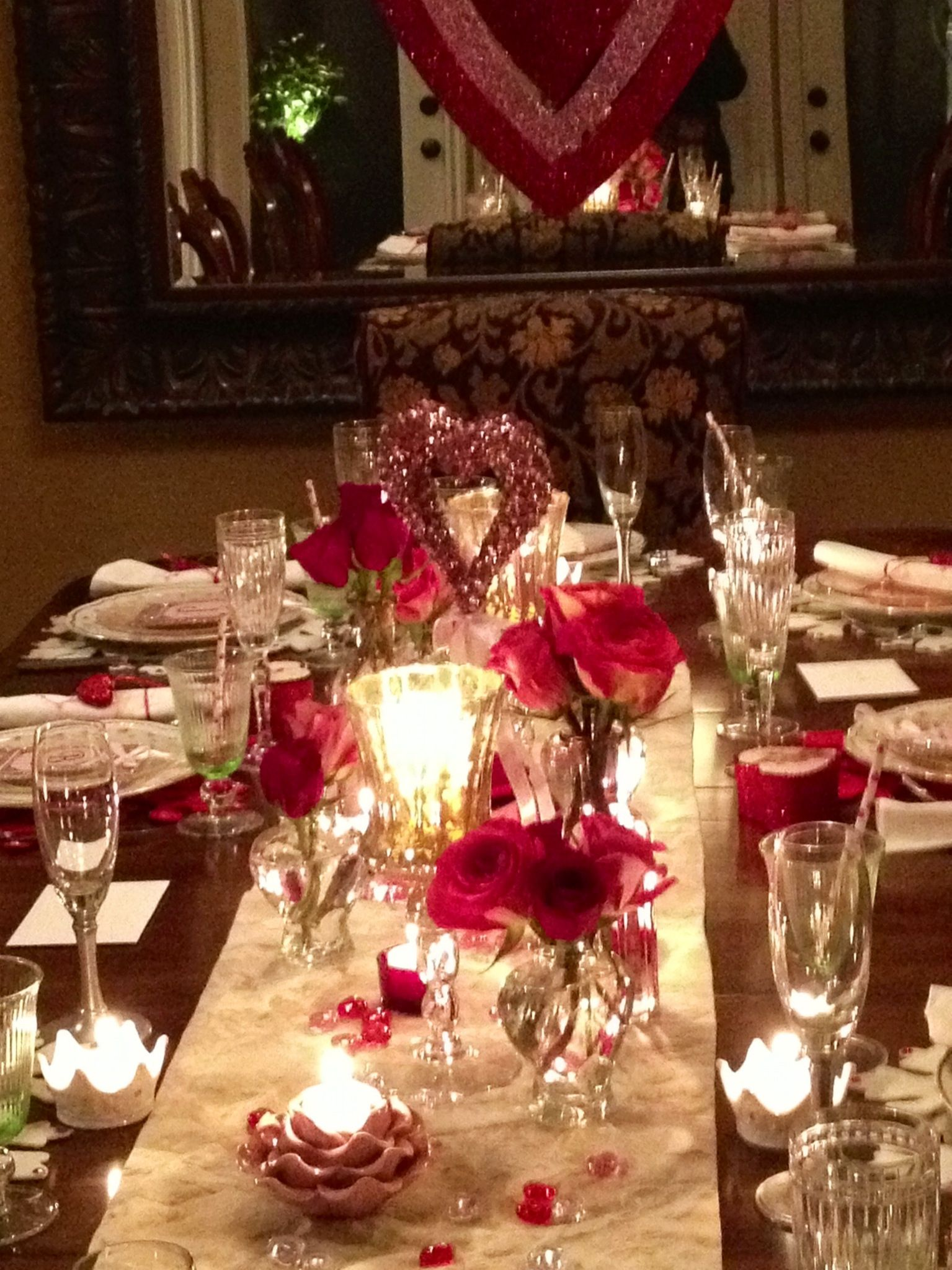 Exceptional Valentines Dinner Party Ideas Part - 11: Dinner Setting For 12...pretty Cool Blog With Lots Simple Ideas You Could  Purchase Mostly From The Dollar Store. | Valentine Crafts To Do | Pinterest  ...