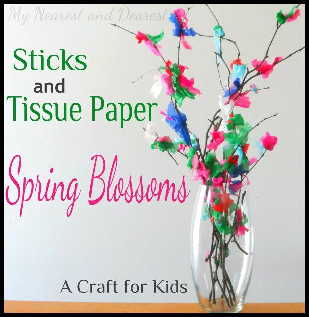 Tissue Paper Craft Ideas For Kids Part - 29: Spring Kidsu0027 Craft: Sticks And Tissue Paper Blossoms