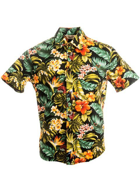 b96b01416434  Exclusive  Slim Fit Hawaiian Shirt  Island Flowers   Black  - Women s Hawaiian  Shirts - Hawaiian Shirts
